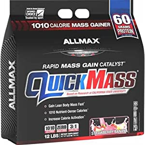 ALLMAX Nutrition QuickMass Loaded Mass Gainer, Strawberry Banana, 12 lbs