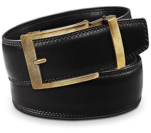 Classic Men's Leather Ratchet Click Belt - Antique Brass Buckle w/ Double Stitched Black Leather Ratchet Belt - Trim to Fit (Up to 45'' Waist)