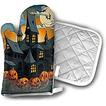 LCHKQR Halloween Haunted Houses Oven Mitt & Pot Holders, Kitchen Quilted Oven Gloves,Hot Pan Mat Pads Set for Cooking Grilling Barbeque Baking, Heat Resistant