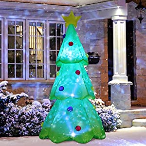 ShinyDec Christmas Inflatables 9 Foot Xmas Tree with 3 Colors Changing Lights Airblown Yard Decorations, Green