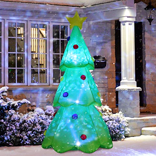 ShinyDec Christmas Inflatables 9ft. Xmas Tree with 3 Colors Changing LED Lights Airblown Yard Decorations, Green (9 Foot Christmas Tree With Changing Lights)