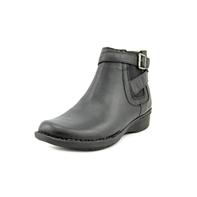 Narrative Whistle Shrub Women Round Toe Leather Black Boot