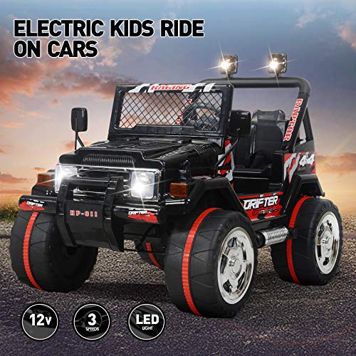 Kids Car to Drive, Vosson Jeep Car for Kids 12V Power Children Electric Car with Remote Control Kid Ride in Car with Battery Kids' Electric Vehicles Child's Electric Jeep Car with Head (Best Electric Vehicles For Kids)