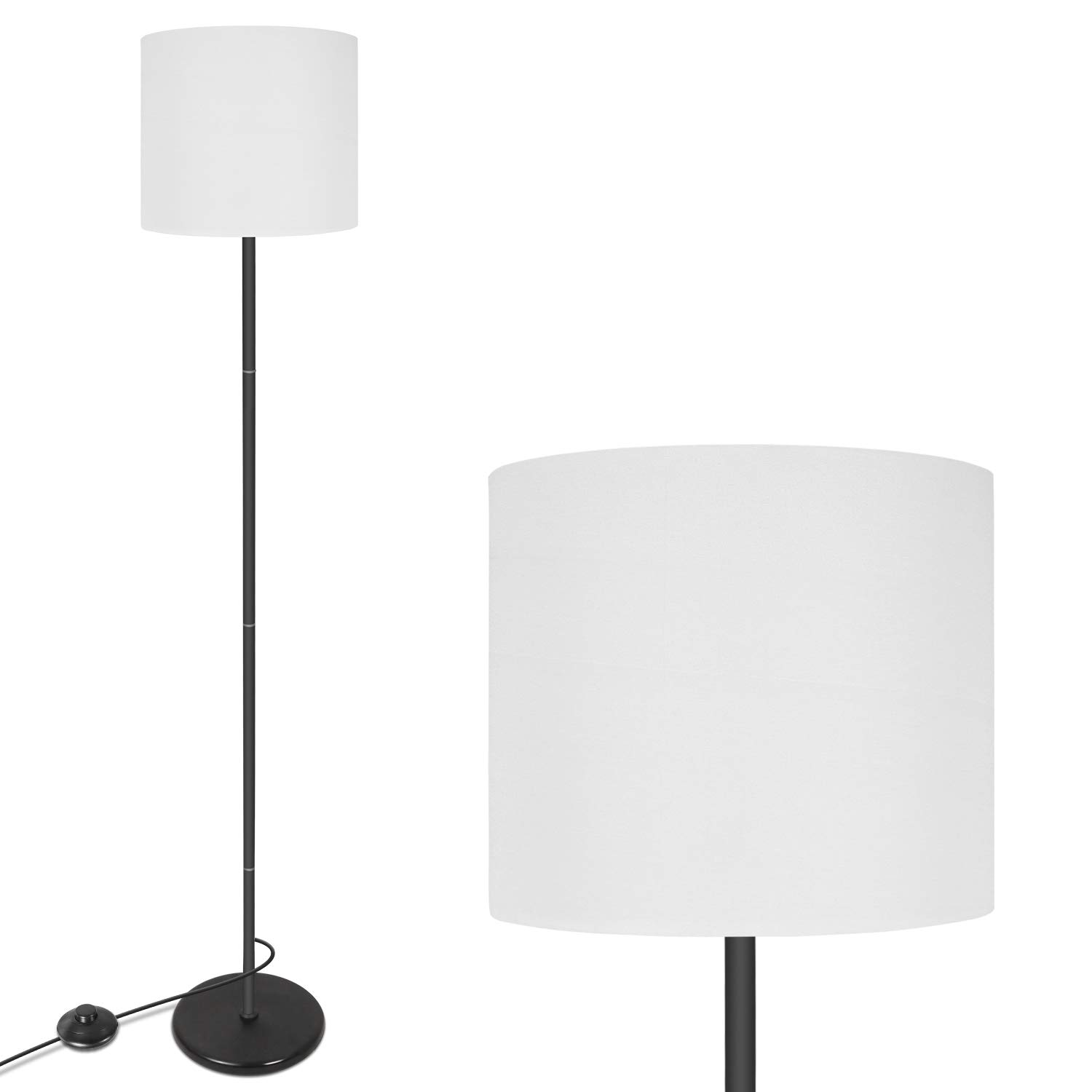 LED Floor Lamp Simple Design, Modern Standing Lamp with Hanging Lamp Shade, Bedroom & Living Room Stand Up LED Floor Lamp White(Without Bulb)