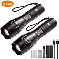 Xisunred Hochleistungs-LED-Taschenlampe [2er-Pack], hellste Taschenlampe mit hohem Lumen und 2 × 18650-Akku, taktische...