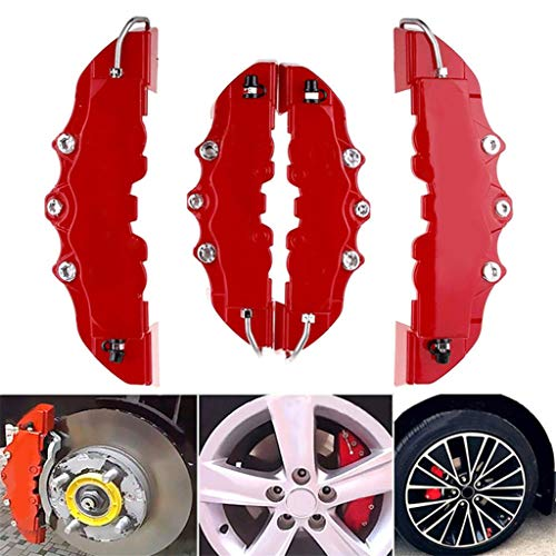 ️ Yu2d ❤️❤️ ️4PCS 3D Red Car Universal Disc Brake Caliper Covers Front & Rear Accessories Kit