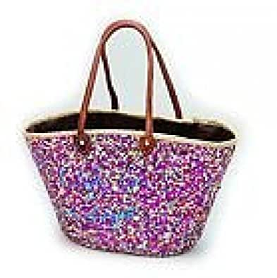French Market Basket Multicolor Sparkling Sequin Leather Straw Tote Bag Moroccan
