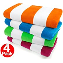 KAUFMAN - 100% Cotton Velour Cabana Beach & Pool Towel 4-Pack - 30in x 60in