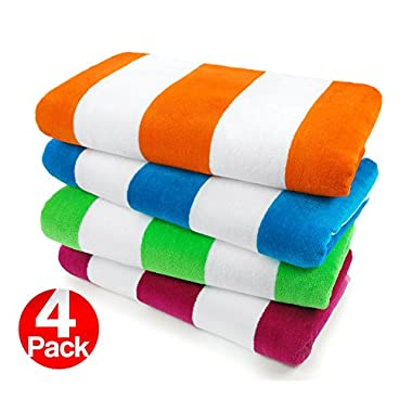 Kaufman - Velour Cabana Towels - 4 Pc Pack - 30  X 60