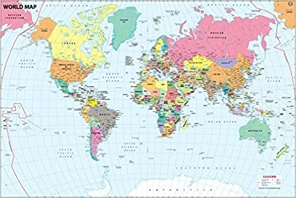 Amazon.: World Map With Major Cities Map : Office Products