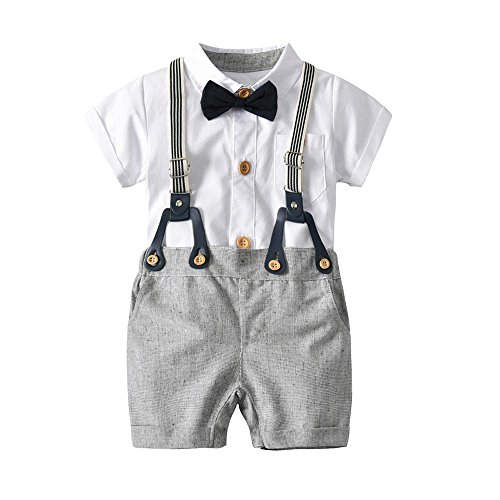 Bib Pants Shirt (CSSD Baby Boys Gentleman Outfits Suits, Infant Short Sleeve Shirt+Bib Pants+Bow Tie Overalls Clothes Set (12M, White))