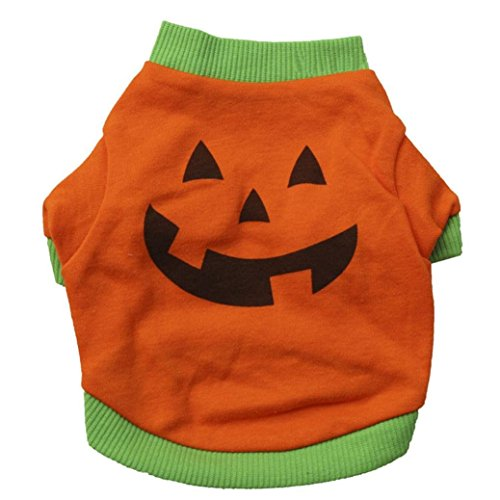 MaxFox Dog Cool Halloween Pumpkin T-Shirt Puppy Cotton Blend Costume Pet Tops Clothing (L, Orange)
