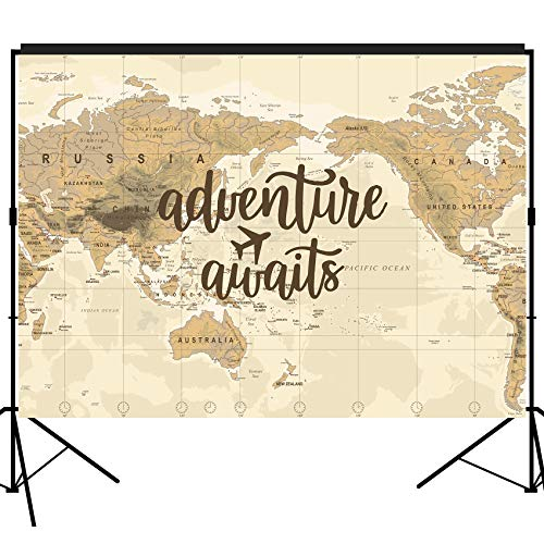 musykrafties Adventure Awaits Backdrop Large Banner Decoration Dessert Table Background Photobooth Prop 7x5 feet