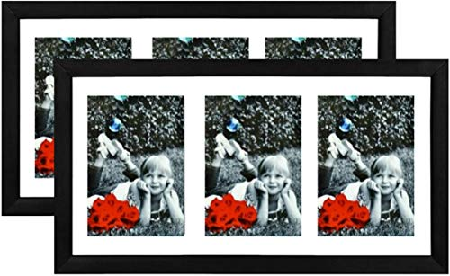 Tasse Verre 8x14 Black Collage Multi 4x6 Picture Frame (2-Pack) - Black with HIGH Definition Glass Front - Frames Triple 3 Pictures with Mat or 8x14 Poster w/Out - Hanging Hardware Pre-Installed