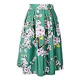Womens High Waist Plum Flower Floral Print Skater Pleated A-Line Midi Skirt