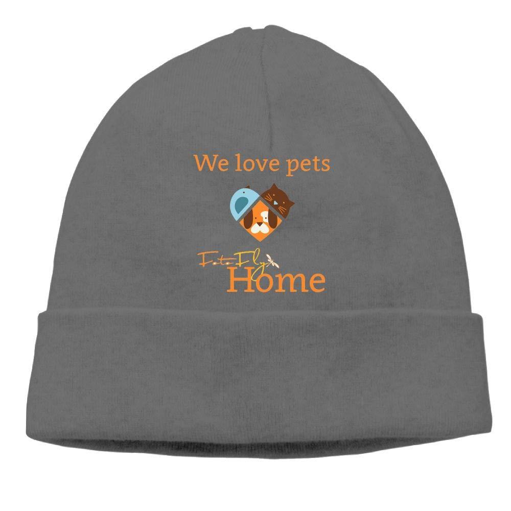 Ghhpws We Loves Pets Beanie Wool Hats Knit Skull Caps Warm Winter Beanies for Men Women Black