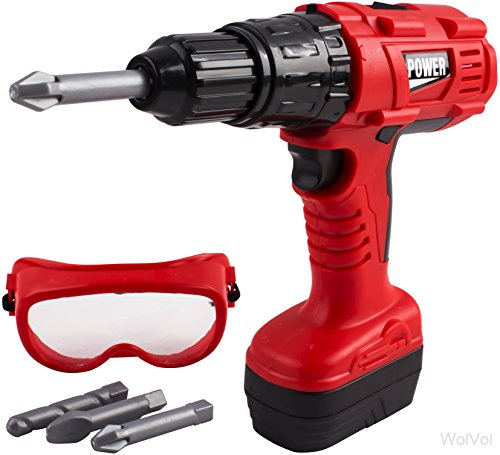 WolVol Electric Power Drill Tool Toy with 3 Bits and Safety Glasses for Kids - Great Pretend Play Action Tool Set with Forward and Reverse - Reverse Glasses