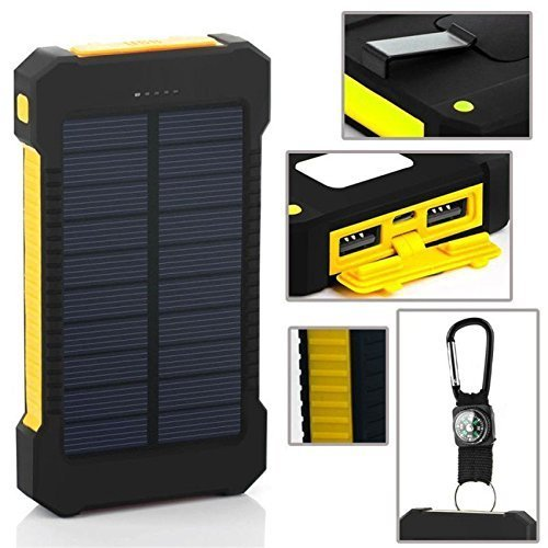 New Solar Power Bank 300000 mAh Portable External Battery Charger For Smart Phone - black & yellow