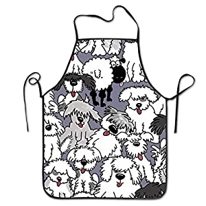 COLOMAKE Old English Sheepdogs Bib Apron Waterproof Event Party BBQ Cooking Kitchen Aprons for Women Men Adults Chef 1