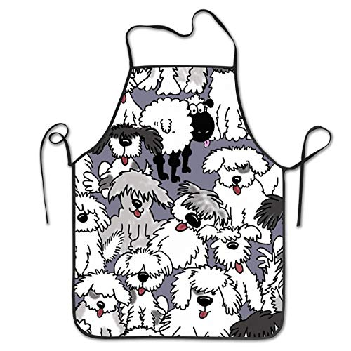 COLOMAKE Old English Sheepdogs Bib Apron Waterproof