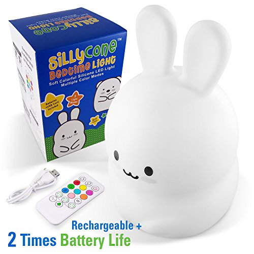 SillyCone Soft Silicone Rechargeable LED Children's Night Light with Remote and Extended Life 2,000 mAh Battery and USB Cable for Charging (Bunny)