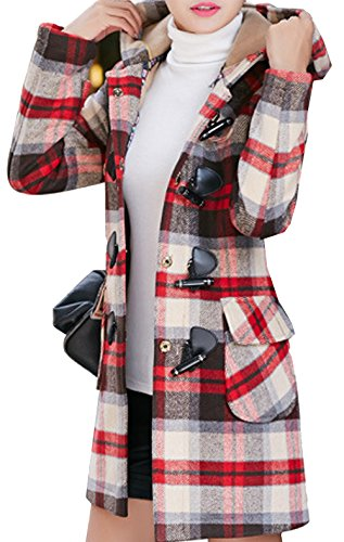 - S&S Women's Fashion Slim Pocket Plaid Wool Toggle Coat With hood