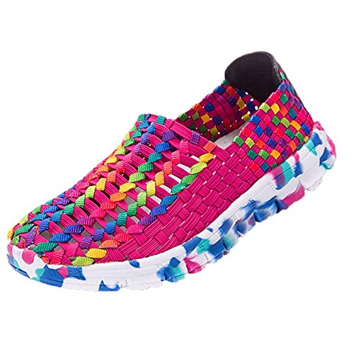 DENER Women Ladies Girls Loafers Sneakers,Woven Resistant Breathable Wide Width Comfort Casual Walking Flat Boat Shoes (Hot Pink, 41)