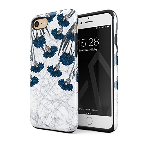 BURGA Compatible with iPhone 7 iPhone 8 Case Blue Cornflower White Marble Floral Print Pattern Fashion Designer Heavy Duty Shockproof Dual Layer Hard Shell + Silicone Protective Cover