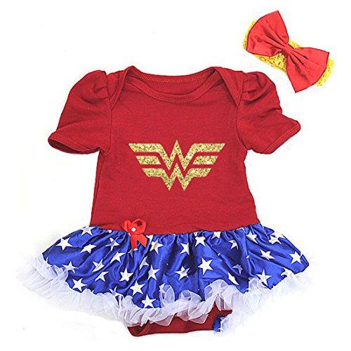 Cute Wonder Woman Gold Glitter Baby Girl First Birthday Tutu Dress 2 Pc (Large (6-12M))