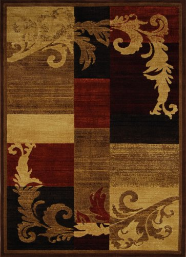 Home Dynamix Catalina - Quality Drop-Stitched Contemporary Modern Area Rug 5'3 x 7'2, Brown and Red