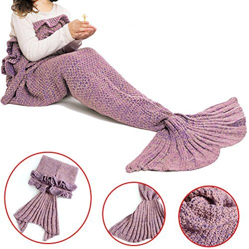 Feiuruhf Mermaid Blanket Handmade Soft Crochet Mermaid Tail Blankets Sleeping Bag for Working, Sleeping, Watching, All Season Use, Kids (pink)