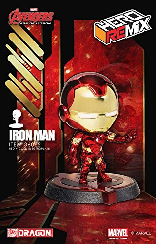 Dragon Models Age of Ultron Ironman Mark 43 Special Red/Gold Chrome Edition Hero Remix Bobblehead, 5
