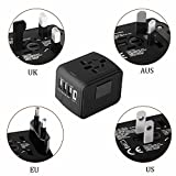 type c l plug adapter - Travel charger Universal All-in-1 Traveling Charger International Travel Power Adapter 3 USB 1 Type C Charger Worldwide AC Wall Outlet Plugs cargador de viaje cargado for UK US AU Europe Asia-(Black)