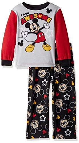 Disney Toddler Boys' Mickey Mouse 2-Piece Fleece Pajama Set, Gray, (Disney Pjs For Boys)