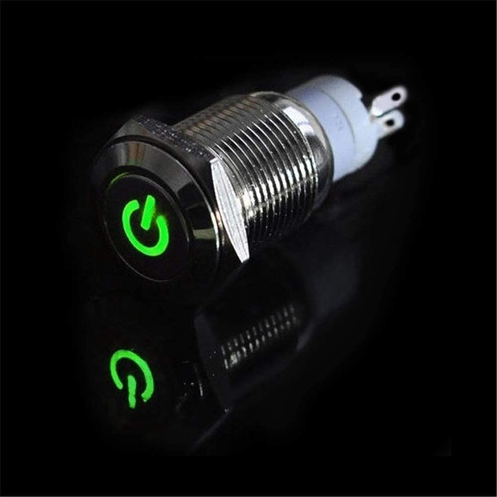 znwiem 16mm 12V Car Push Button Switch Silver Aluminum LED Light Power Waterproof Self-locking Momentary//Latching Valve IP67 Steel Illuminated ON//OFF for Car RV Truck Boat