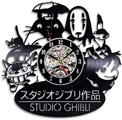 HQYDBB Reloj de Pared Animado del Disco de Vinilo de la Serie del Personaje de Dibujos Animados, Reloj Digital del Mute de la Pared del Gato 3D