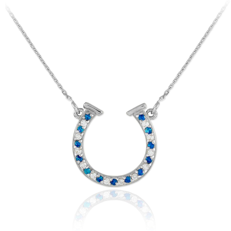 14k White Gold Diamond & Blue Sapphire Good Luck Charm Horseshoe Necklace