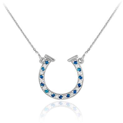 2638a8cf7e692 14k White Gold Diamond & Blue Sapphire Good Luck Charm Horseshoe Necklace