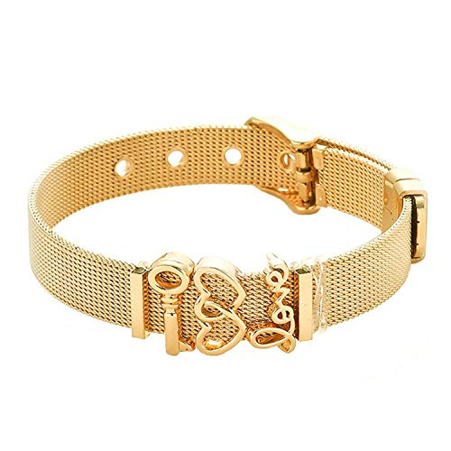 - Leving Woman Men Bracelet Mesh Bracelet Set Crystal Heart Anchor Charm Fine Bracelet Bangle for Female Lover,ST014