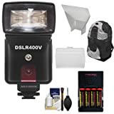 Precision Design DSLR400V High Power Auto Flash with LED Video Light with Batteries & Charger + Diffusers + Backpack Kit for Sony Alpha A6000, A6300, A6500, A7, A7R, Cyber-Shot RX10, RX100 II Cameras