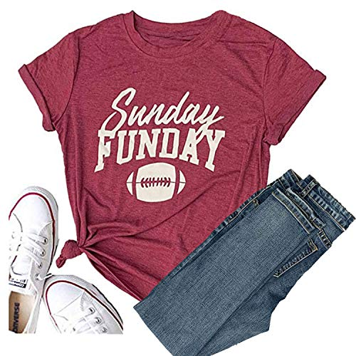 Hellopopgo Sunday Funday Football Funny T-Shirt Women