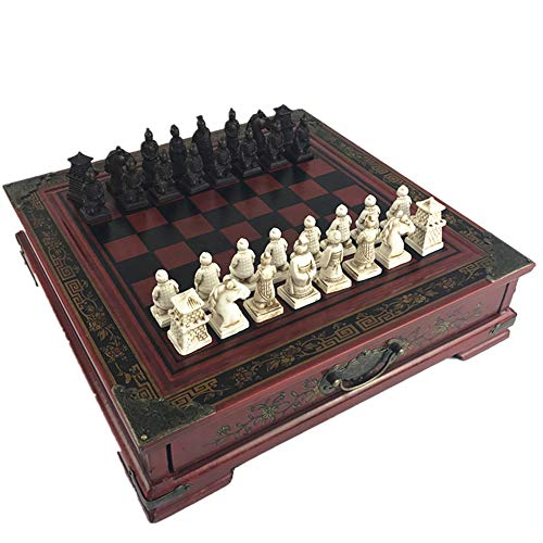 CHAOZHAOHENG Ancient Chinese Chess, Checkers with Solid Wood Boards and Storage Drawers -15 inches, Carved Soldiers, Suitable for Ancient Chinese Lovers, Puzzle Games, Collection