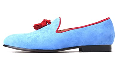 818cdeb425587 Light Blue Velvet Loafers with Red Tassel Men's Slippers British Style Shoes  Flat Smoking Slip-