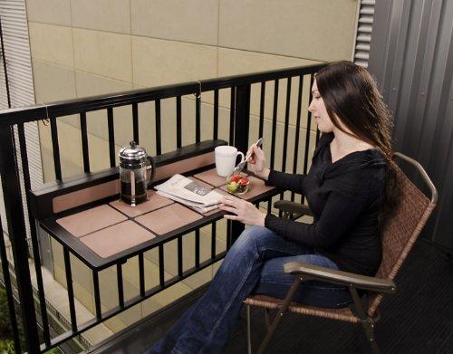 H.E. Nelson, Inc Tavolo Balcony Table Folding, Rail Mount (Balcony Condo Design)