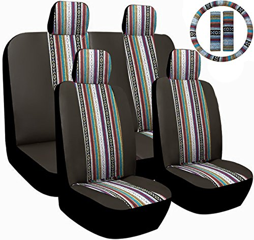 13pc Premium Black & Grey Baja Inca Weaved Front Rear Car Truck SUV Seat Cover Set, Includes Steering Wheel Covers and Shoulder Pads