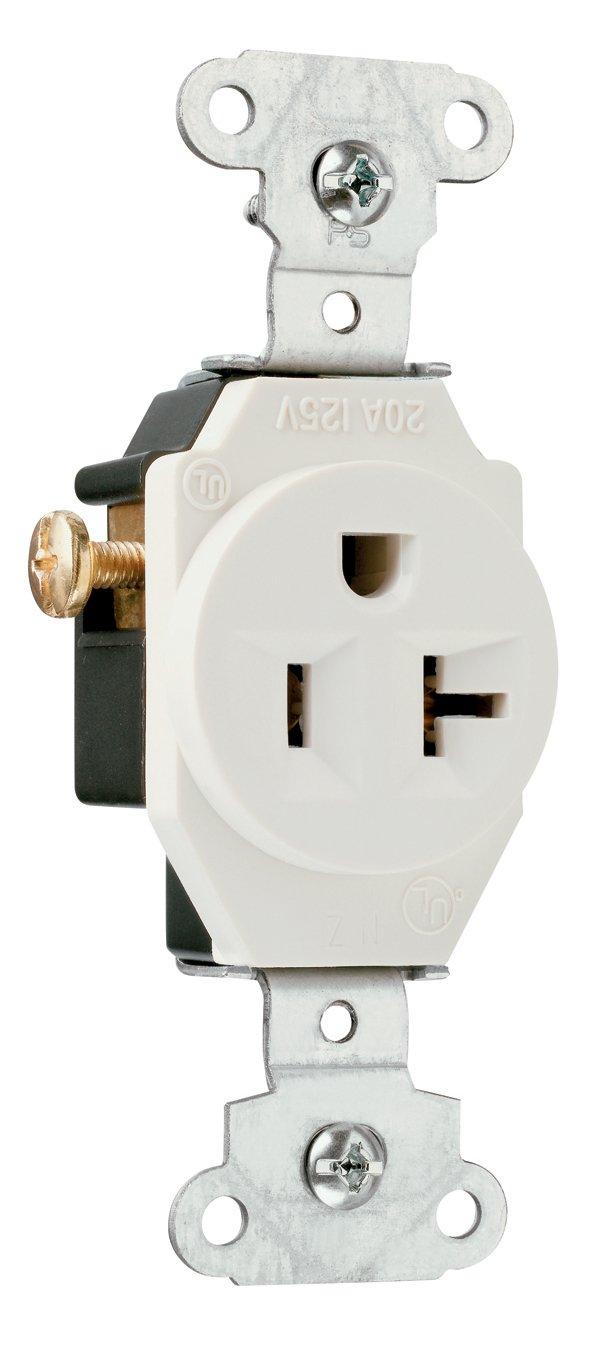 Legrand-Pass & Seymour 5351LACC8 Specification Grade Single Receptacle 20-Amp 125-volt Light, Almond