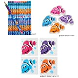 Adorable Clownfish Theme Party Favor Set / 12 Clownfish Pencils / 24 Clownfish erasers / 144 Temporary Clownfish Tattoos / Finding Nemo / Dory