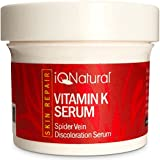 IQ Natural's Vitamin K Spider Vein Treatment Cream | Treats Hyper pigmentation, Lightening & Whitening Dark Spots, Spider Veins Scars, Discolorations, Uneven Skin Tone - 2oz