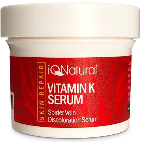 IQ Natural's Vitamin K Spider Vein Treatment Cream | Treats Hyper pigmentation, Lightening & Whitening Dark Spots, Spider Veins Scars, Discolorations, Uneven Skin Tone - 2oz