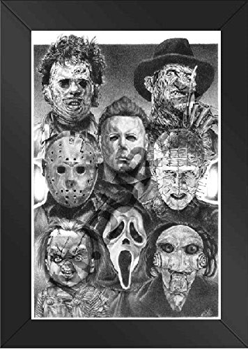 Horror Nights Movie Villains - Scariest Poster Ever – Framed Original Sketch Print - All Time Favorite Evil Guys - Michael Myers Pinhead Chucky Jason Freddy Krueger Scream (Scariest Halloween Movies Ever)